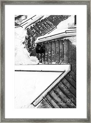 Man On Staircase Concord New Hampshire 2015 Framed Print by Edward Fielding