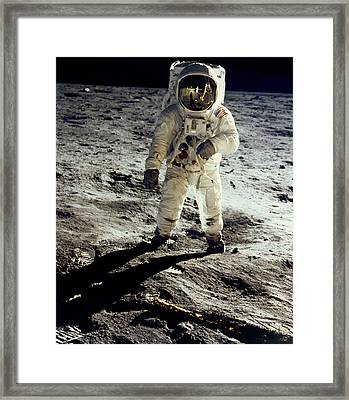 Man On The Moon Framed Print by Neil Armstrong/Underwood Archive