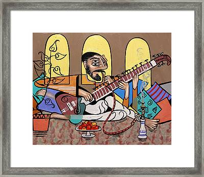 Man Playing A Sitar Framed Print by Anthony Falbo