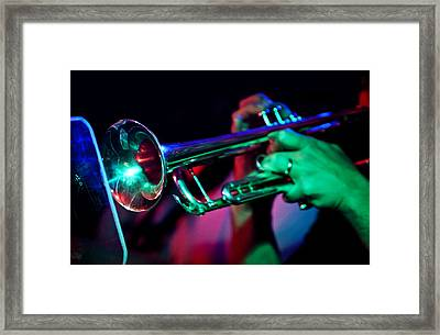 Man Playing The Trumpet Framed Print by The  Vault - Jennifer Rondinelli Reilly