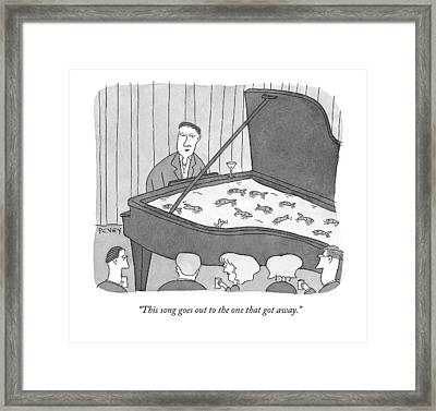 Man Plays Piano With Aquarium Inside Framed Print by Peter C. Vey
