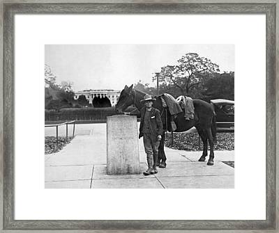 Man Rides Through Every State Framed Print by Underwood Archives