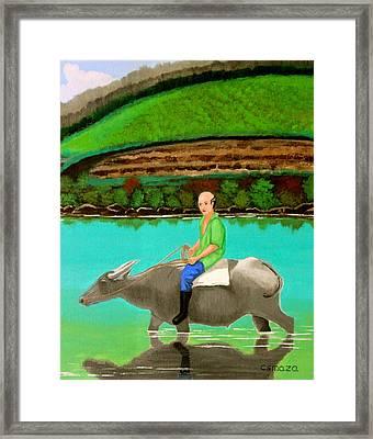Man Riding A Carabao Framed Print by Cyril Maza
