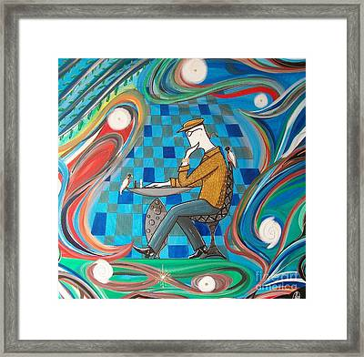 Man Sitting In Chair Contemplating Chess With A Bird Framed Print by John Lyes