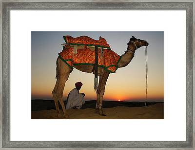 Man Sitting With His Camel At Sunset Framed Print by Piper Mackay
