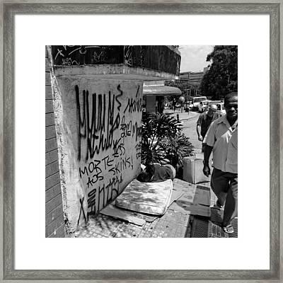 Man Sleeping In Sao Paulo Framed Print by Julie Niemela