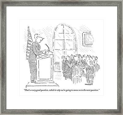 Man Stands At A Podium - A Flag Is To His Left Framed Print by Robert Mankoff