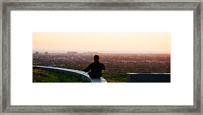 Man Sting On The Ledge In Baldwin Hills Framed Print by Panoramic Images