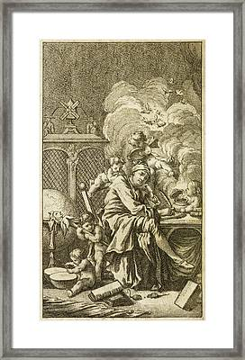 Man Surrounded Cherubs Framed Print by British Library