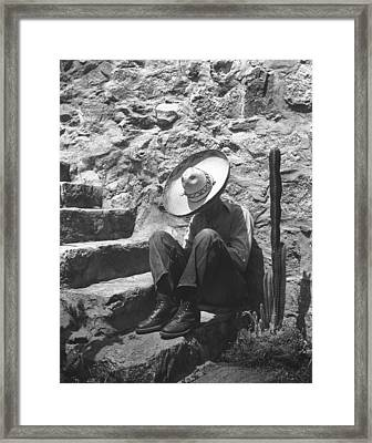 Man Taking A Siesta Framed Print by Underwood Archives