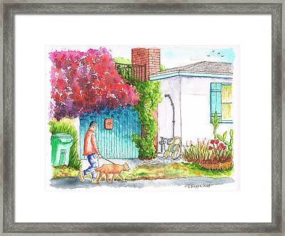 Man Walking A Dog In West Hollywood - California Framed Print by Carlos G Groppa