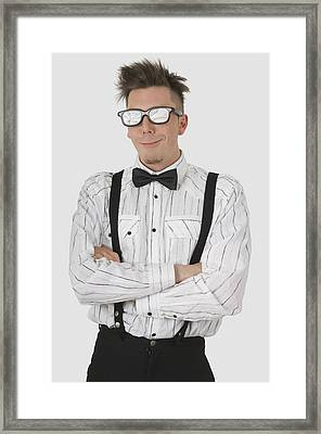 Man Wearing Sunglasses Suspenders And Framed Print by Stock Foundry