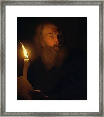 Man With A Candle Framed Print by Godfried Schalken