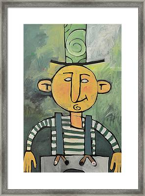 Man With Fancy Hat And Suspenders Framed Print by Tim Nyberg