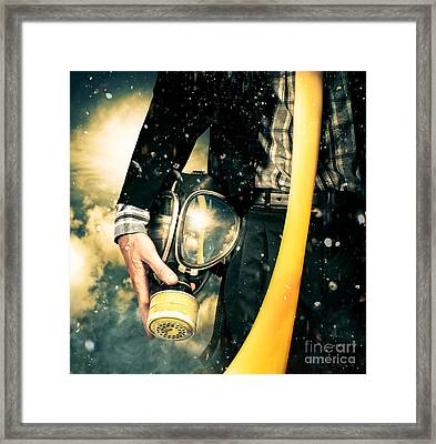 Man With Gas Mask. New Beginning. Skys The Limit Framed Print by Jorgo Photography - Wall Art Gallery