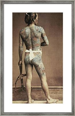 Man With Traditional Japanese Irezumi Tattoo Framed Print by Japanese Photographer