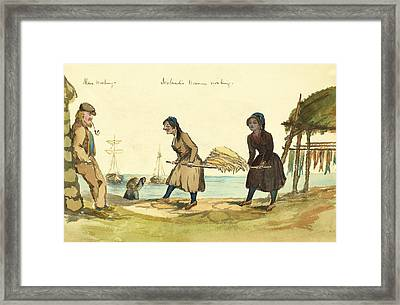 Man Working And Icelandic Women Working Circa 1862 Framed Print by Aged Pixel