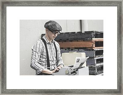 Man Writing On Old Typewriter Framed Print by Jorgo Photography - Wall Art Gallery