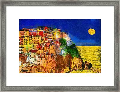 Manarola By Night Framed Print by George Rossidis