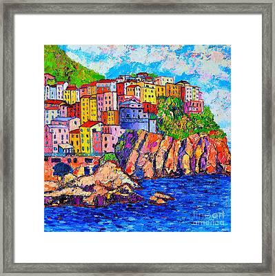 Manarola Cinque Terre Italy Detail Framed Print by Ana Maria Edulescu