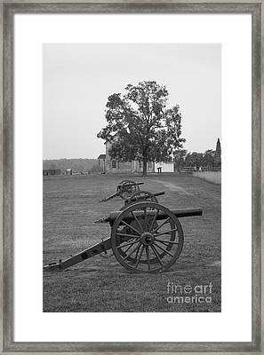 Manassas Battlefield Cannon And House Framed Print by Christiane Schulze Art And Photography