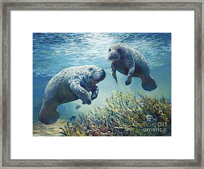 Manatee's Framed Print by Laurie Hein