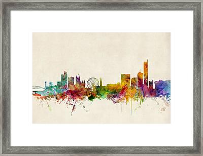 Manchester England Skyline Framed Print by Michael Tompsett