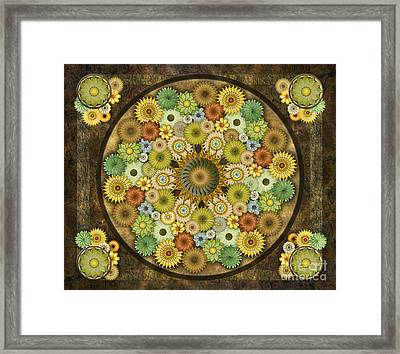 Mandala Stone Flowers Sp Framed Print by Bedros Awak