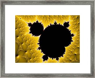 Mandelbrot Set Black And Yellow Fractal Art Framed Print by Matthias Hauser