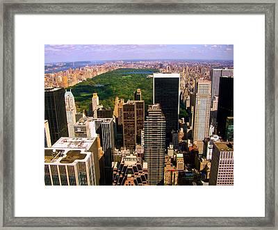 Manhattan And Central Park Framed Print by Monique Wegmueller