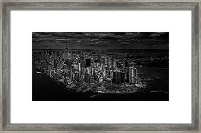 Manhattan - Bird's Eye View Framed Print by Michael Jurek