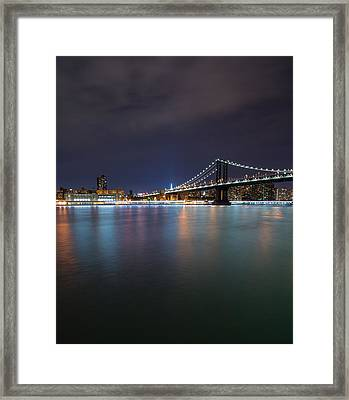 Manhattan Bridge - New York - Usa Framed Print by Larry Marshall