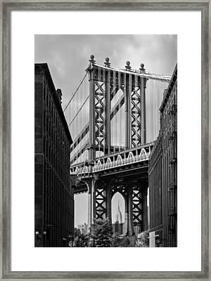Manhattan Bridge Frames The Empire State Building Framed Print by Susan Candelario