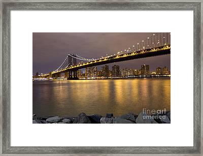 Manhattan Bridge Lights  Framed Print by Leslie Leda
