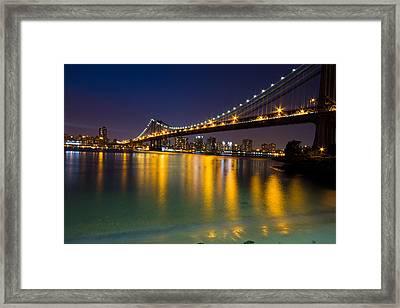 Manhattan Bridge Framed Print by Mircea Costina Photography