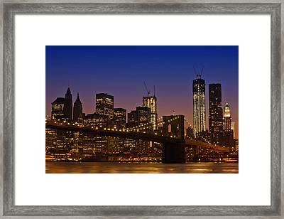 Manhattan By Night Framed Print by Melanie Viola
