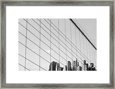 Manhattan From Brooklyn Bridge Framed Print by Ilker Goksen