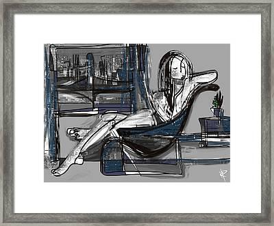 Manhattan Nude Framed Print by Russell Pierce