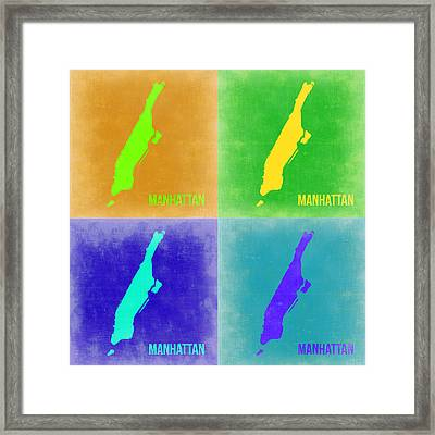 Manhattan Pop Art Map 2 Framed Print by Naxart Studio