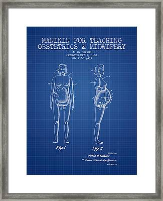 Manikin For Teaching Obstetrics And Midwifery Patent From 1951 - Framed Print by Aged Pixel