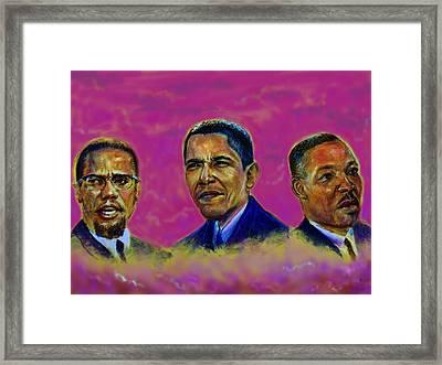 M.a.n...malcolm- Obama- Martin Framed Print by Tommy  Winn