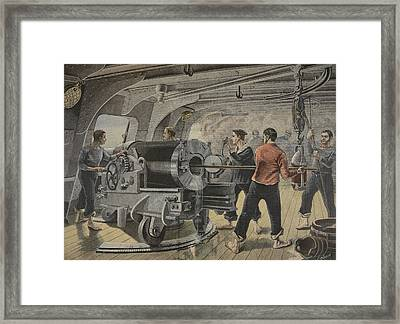 Manoeuvering Of A Cannon By The Spanish Framed Print by Fortune Louis Meaulle