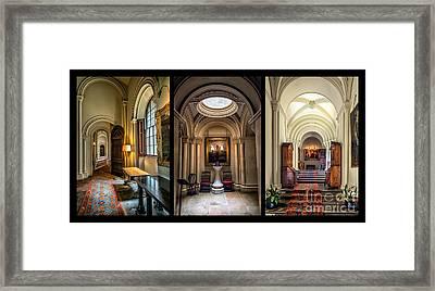 Mansion Hallway Triptych Framed Print by Adrian Evans
