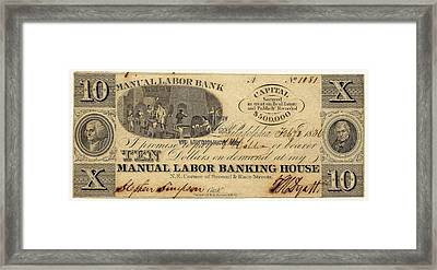 Manual Labor Bank Note Framed Print by American Philosophical Society