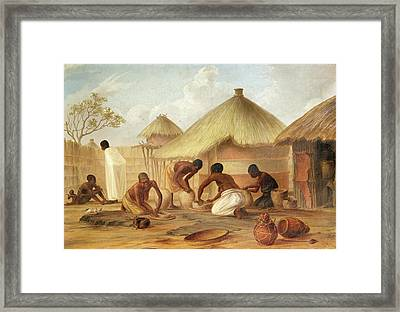 Manufacture Of Sugar At Katipo - Making The Panellas Or Pots To Contain It, 1859 Oil On Canvas Framed Print by Thomas Baines