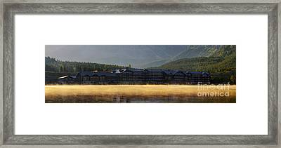 Many Glacier Hotel Sunrise Panorama Framed Print by Mark Kiver