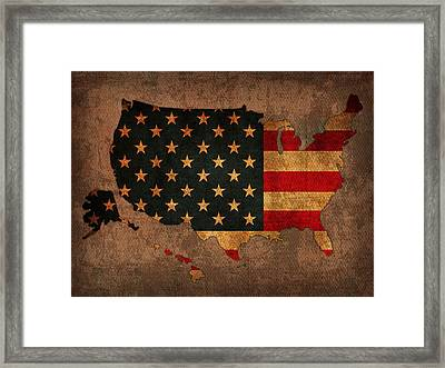 Map Of America United States Usa With Flag Art On Distressed Worn Canvas Framed Print by Design Turnpike