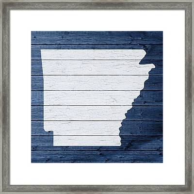 Map Of Arkansas State Outline White Distressed Paint On Reclaimed Wood Planks Framed Print by Design Turnpike