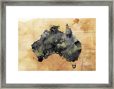 Map Of Australia Grunge Framed Print by Daniel Hagerman