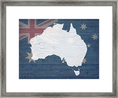 Map Of Australia In White Old Paint On Australian Flag Barn Wood Framed Print by Design Turnpike